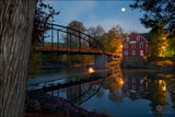 War Eagle Mill, Arkansas, Benton County, moon, moonrise