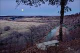 Moonrise, moonset, war eagle river, arkansas, benton county, rural