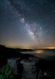 Arkansas, milky way, valley, fog, night, stars, ozark national forest