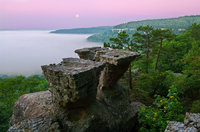 Moonset over Tea Table Rocks