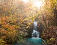 buffalo river, sunrise, waterfall, autumn, ozarks, arkansas