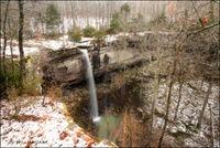 arkansas, waterfalls, sweden creek natural area, madison county, snow, ozarks