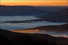 Boxley Valley, arkansas, fog, sunrise, morning light