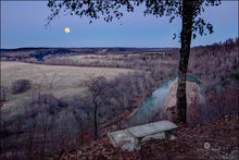 Moonrise, moonset, war eagle river, arkansas, benton county, rural
