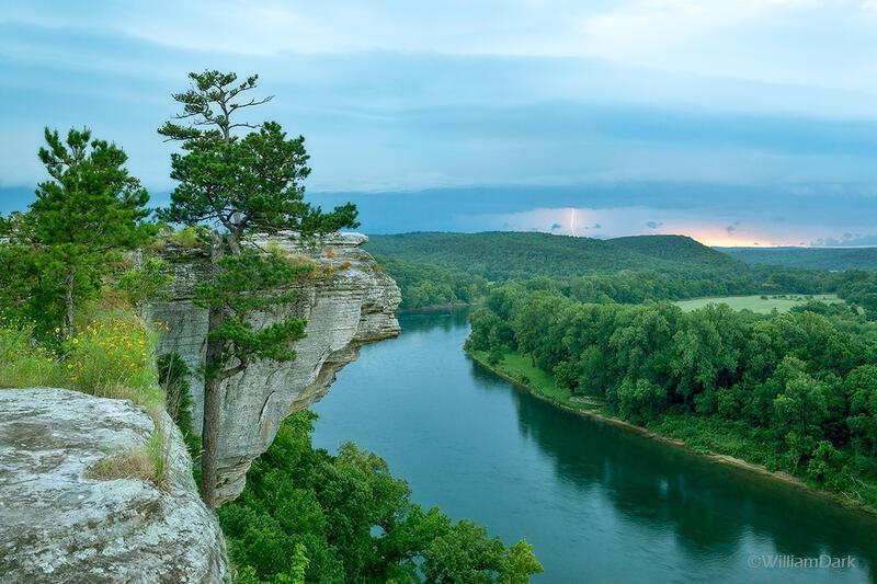Calico Rock, arkansas, white river, thunderstorm, sunset, city rock bluff