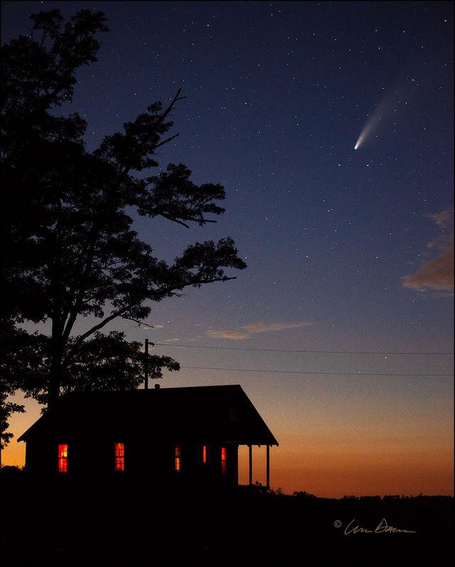 arkansas, neowise, ozarks, sunset, comet, buffalo river, old house, tree, newton county, dusk