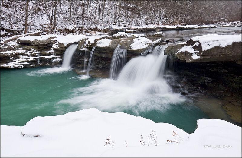 kings river falls, madison county, arkansas, waterfall, snow, winter, natural area, arkansas natural heritage commission