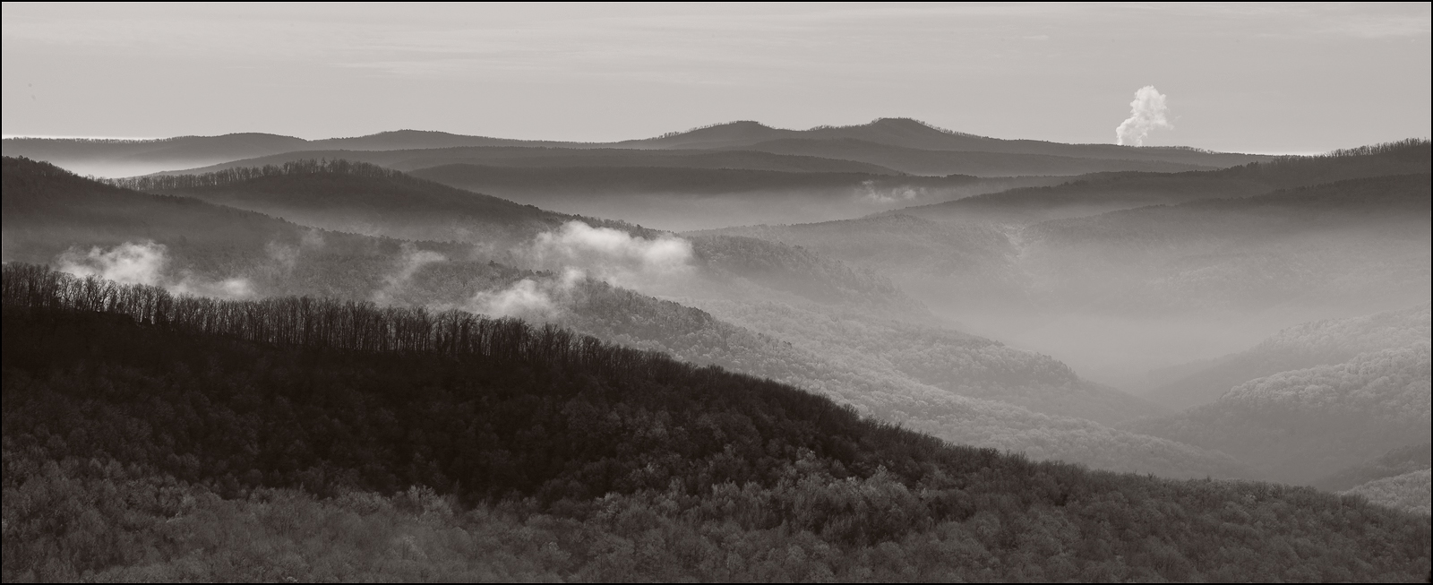 Ozark Mountains, home valley, black and white, winter, morning, highway 16, photo