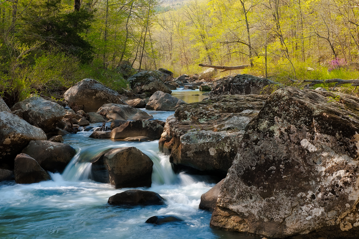Clear blue water cascades down Richland Creek during a late afternoon in April.  Arkansas Nature Photography