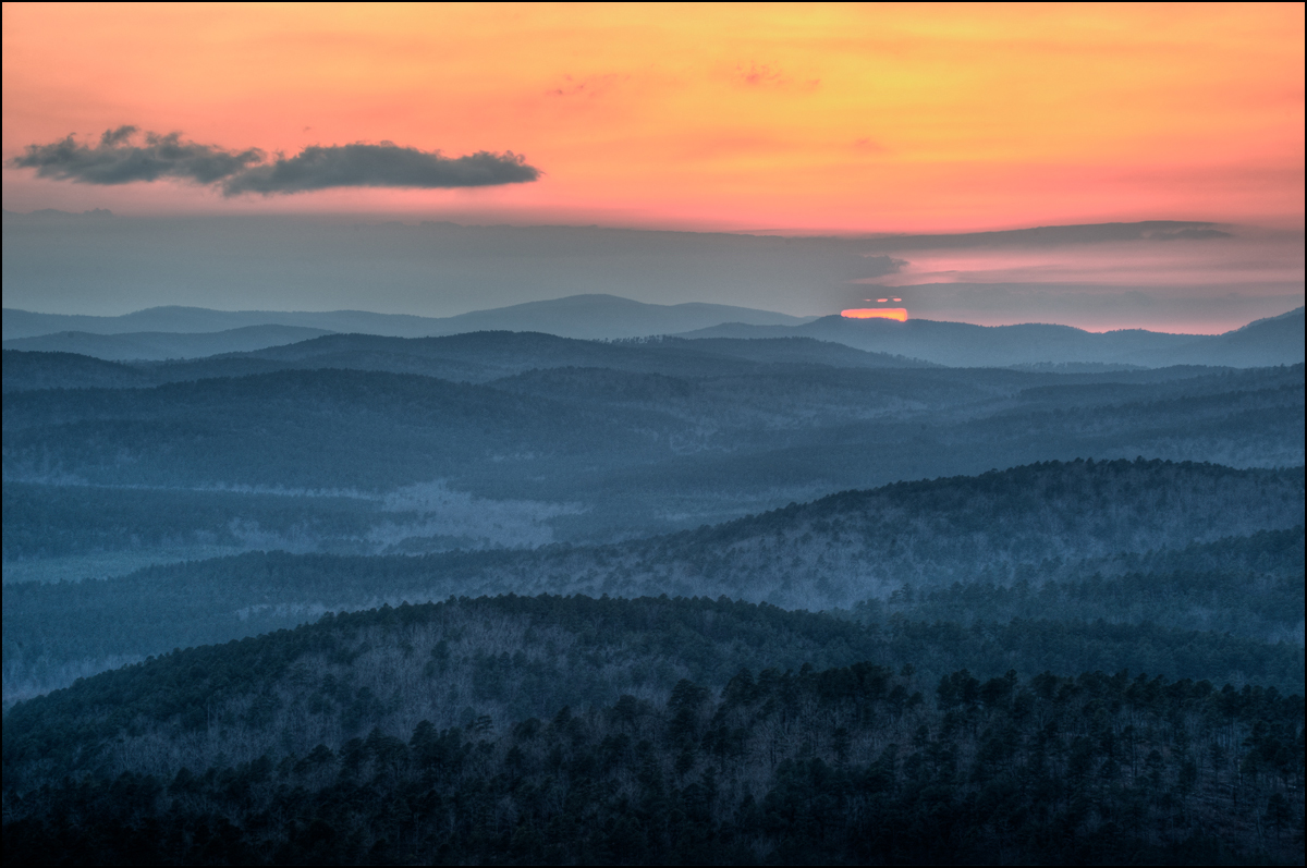 Ouachita mountains, arkansas, sunset, photo