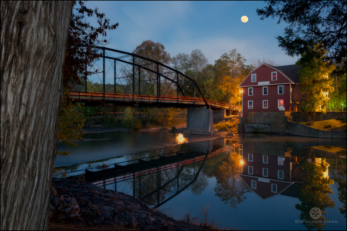 War Eagle Mill, Arkansas, Benton County, moon, moonrise, photo