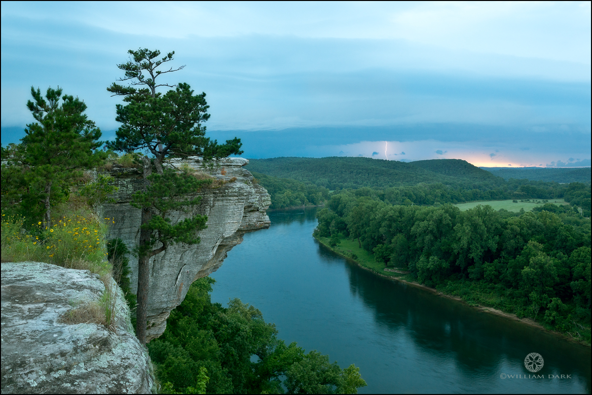 Calico Rock, arkansas, white river, thunderstorm, sunset, city rock bluff, photo