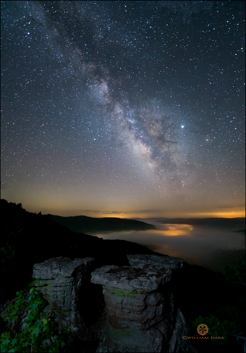 A peaceful night in Home Valley, as fog begins to settle in with the Milky Way and stars shining from above.