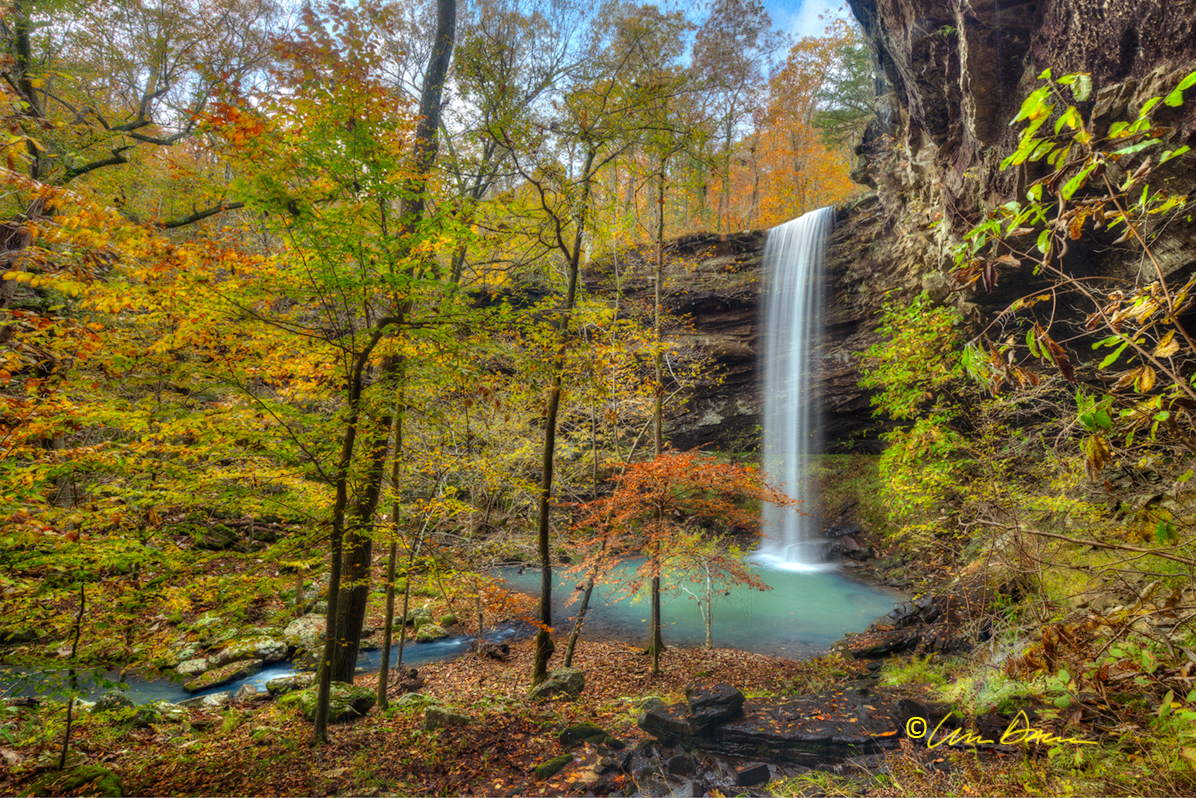 Waterfall, autumn, Bowers, hollow, buffalo river, wilderness area, fall color, arkansas, photo