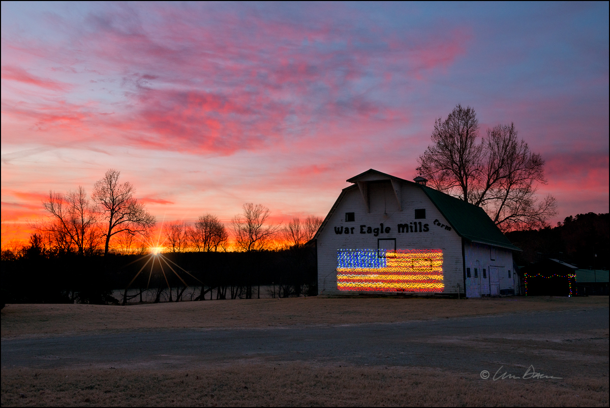 War Eagle Farms, barns, arkansas, sunrise, photo