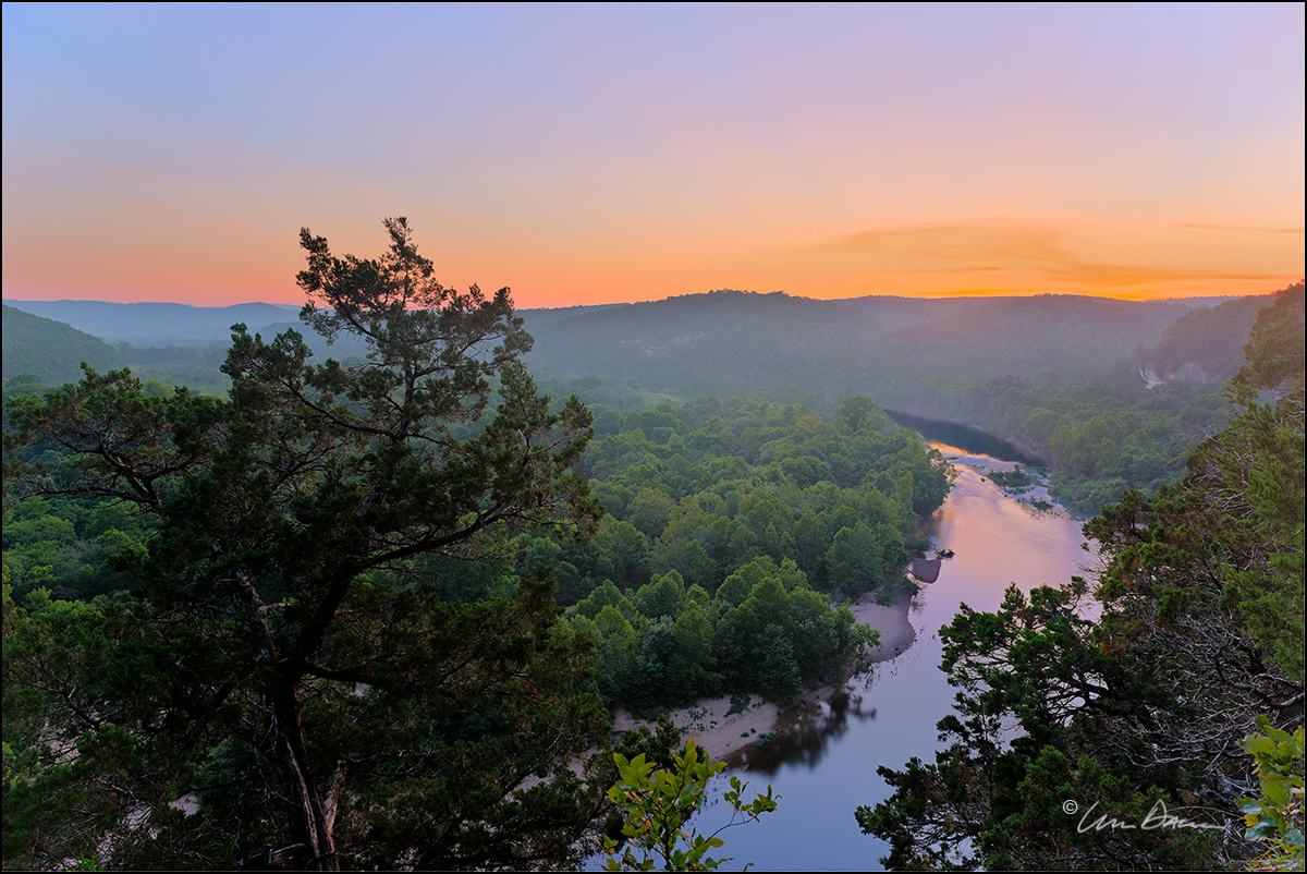 sunset, woolum, buffalo river, arkansas, photo
