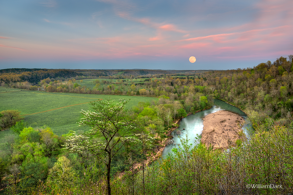 War Eagle, spring, river, april, arkansas, moon, moonrise, supermoon, photo