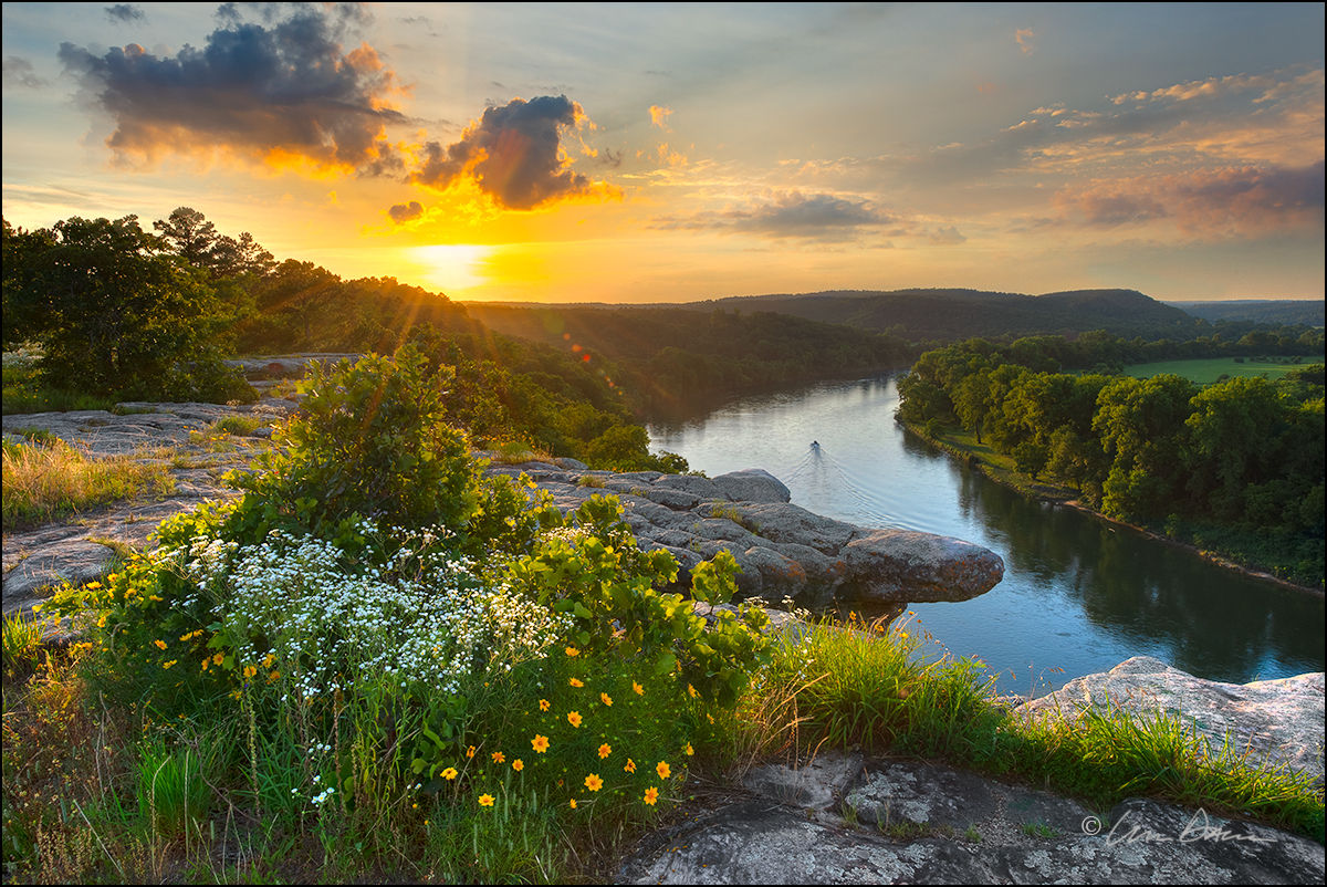 city rock bluff, white river, arkansas, sunset, Calico Rock, photo