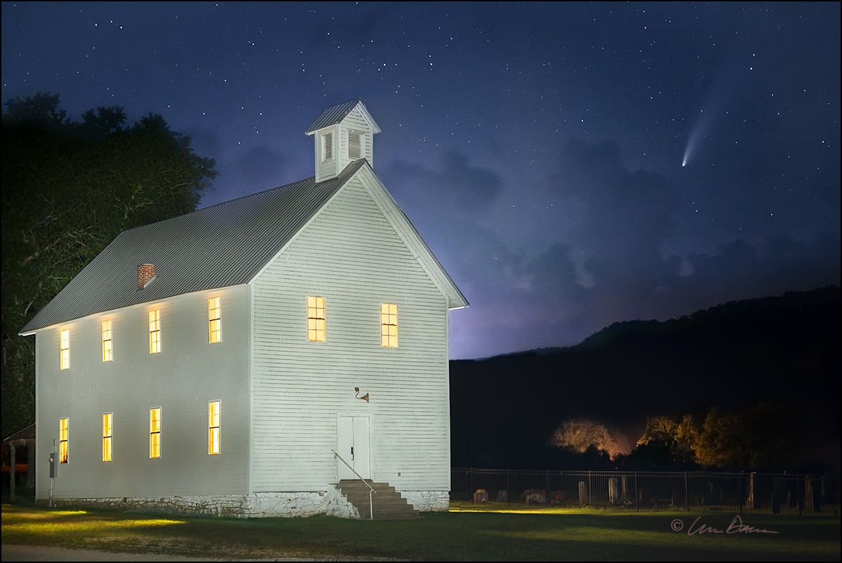 The historic Boxley Valley Church and NEOWISE comet - from July, 2020.