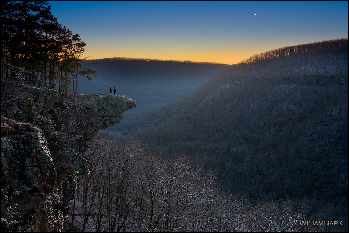 Venus rising in the pre-dawn light over Hawksbill Crag near the Buffalo National River.