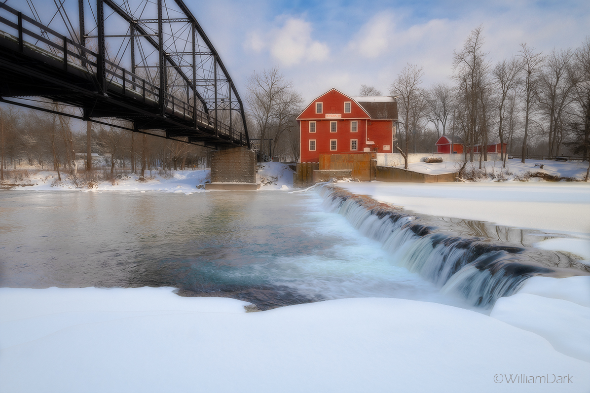 An afternoon view of the Historic War Eagle Mill and a fresh blanket of snow and ice.  One of the coldest days the Ozarks has...